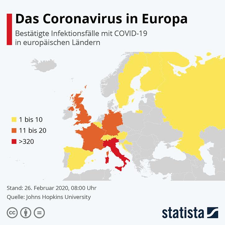 Coronavirus in Europa: Diese Länder sind betroffen (Infografik von Statista)